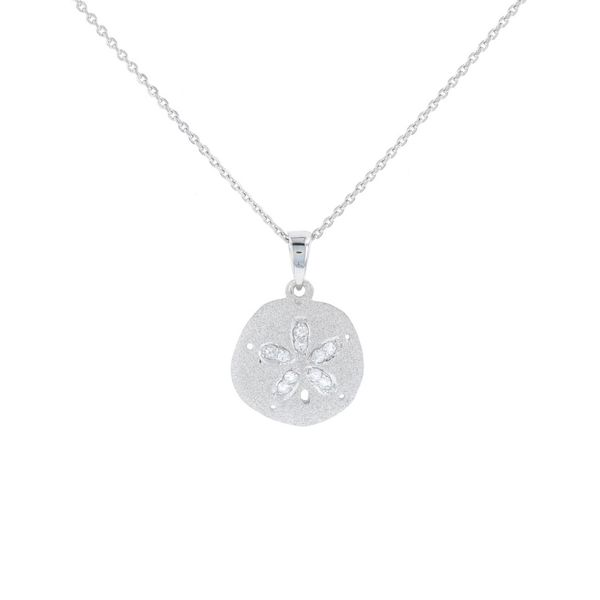 Small White Sapphire Sand Dollar Necklace Fox Fine Jewelry Ventura, CA