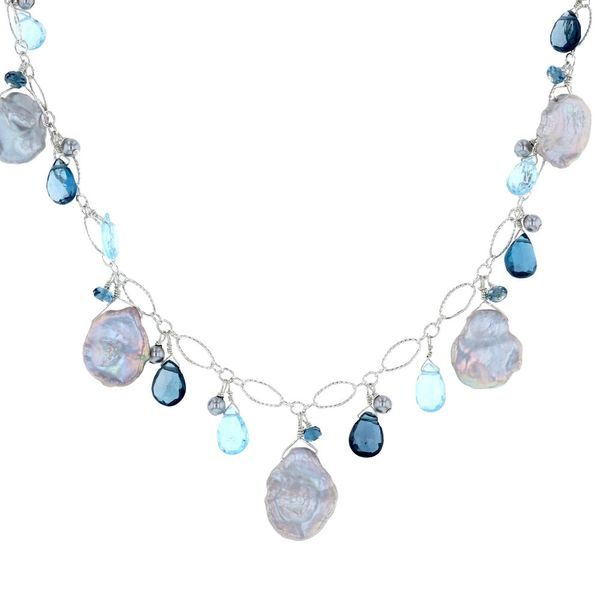 Keshi Pearl & Briolette Blue Topaz Necklace Fox Fine Jewelry Ventura, CA