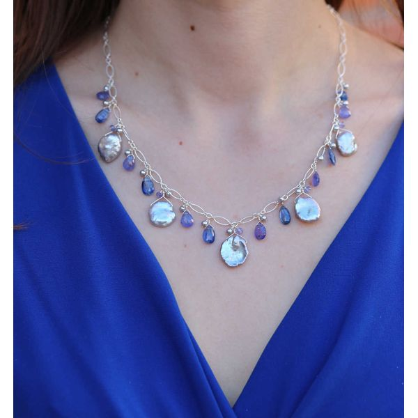 Keshi Pearl & Briolette Tanzanite Necklace Image 2 Fox Fine Jewelry Ventura, CA
