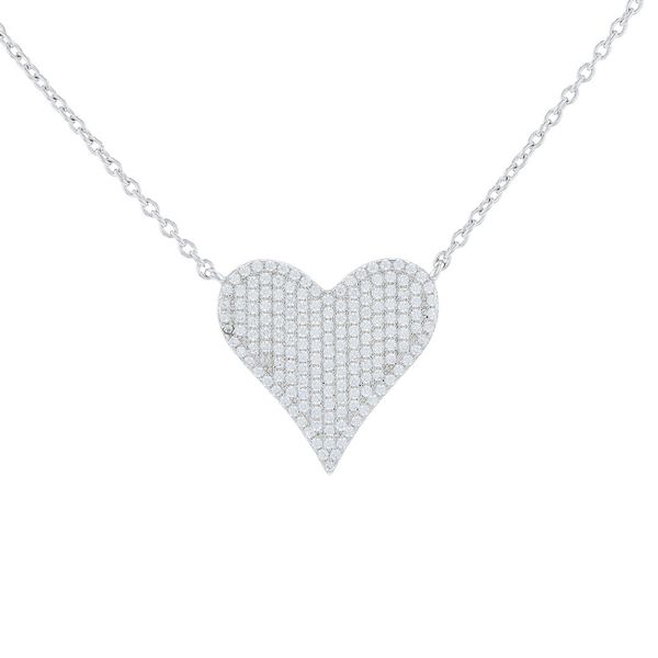 Sparkling Pave Heart Necklace Fox Fine Jewelry Ventura, CA