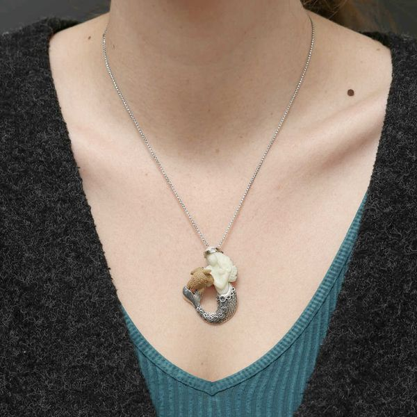 Tagua Nut & Bone Mermaid & Turtle Necklace Image 2 Fox Fine Jewelry Ventura, CA