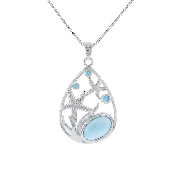 Larimar & Blue Topaz Starfish Necklace Fox Fine Jewelry Ventura, CA