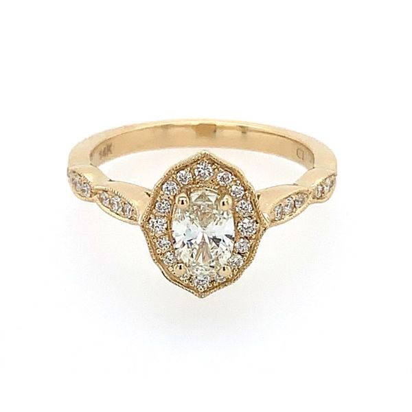 14K Yellow Gold Diamond Engagement Ring with 0.40 Ct Oval Image 2 Franzetti Jewelers Austin, TX