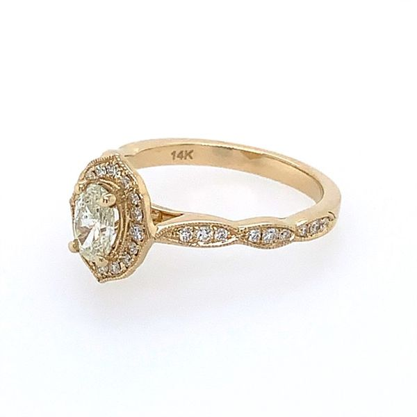 14K Yellow Gold Diamond Engagement Ring with 0.40 Ct Oval Image 5 Franzetti Jewelers Austin, TX