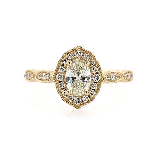 14K Yellow Gold Diamond Engagement Ring with 0.40 Ct Oval Franzetti Jewelers Austin, TX