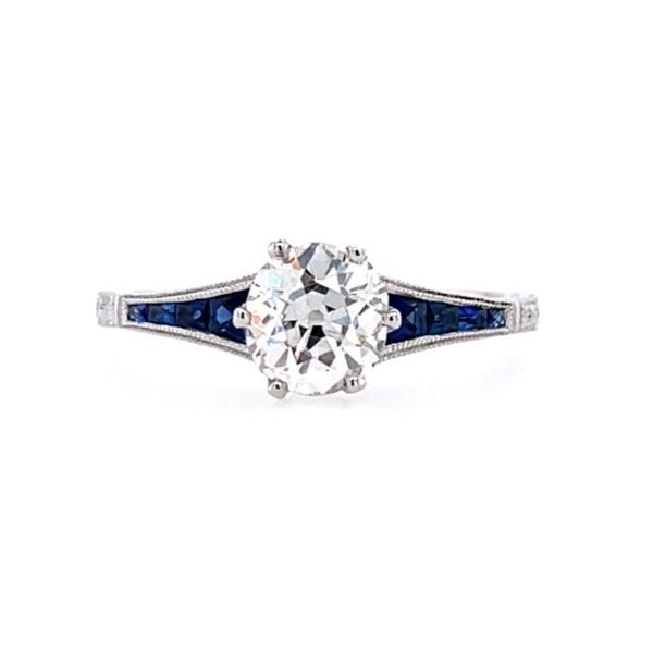 18KW Gold Antique Style Diamond & Sapphire Engagement Ring Image 2 Franzetti Jewelers Austin, TX