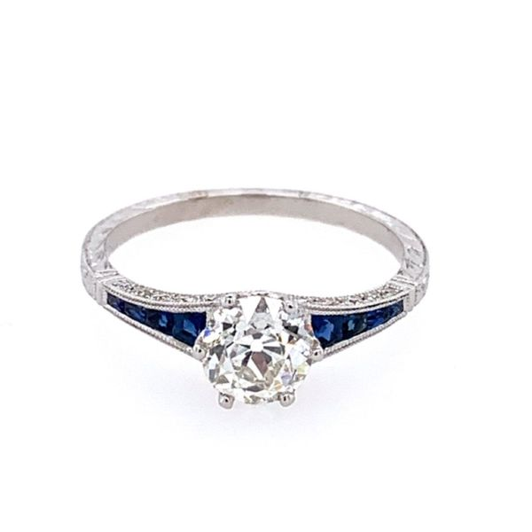 18KW Gold Antique Style Diamond & Sapphire Engagement Ring Franzetti Jewelers Austin, TX