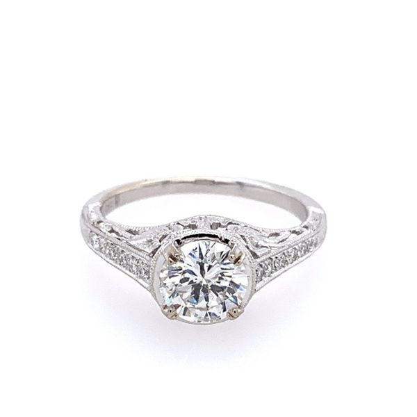 14KW Gold Antique Style Diamond Engagement Ring Image 2 Franzetti Jewelers Austin, TX