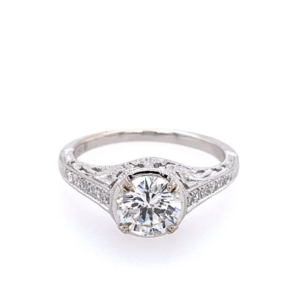 14KW Gold Antique Style Diamond Engagement Ring Image 3 Franzetti Jewelers Austin, TX
