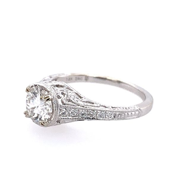 14KW Gold Antique Style Diamond Engagement Ring Image 4 Franzetti Jewelers Austin, TX