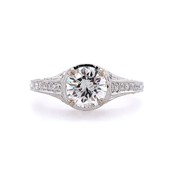 14KW Gold Antique Style Diamond Engagement Ring Franzetti Jewelers Austin, TX