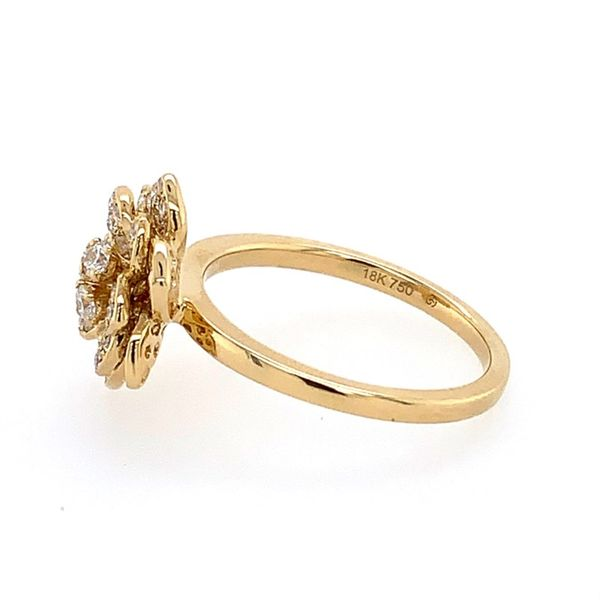 18K Yellow Gold Diamond Flower Ring Image 3 Franzetti Jewelers Austin, TX