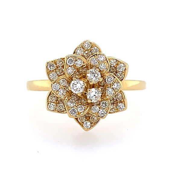 18K Yellow Gold Diamond Flower Ring Franzetti Jewelers Austin, TX