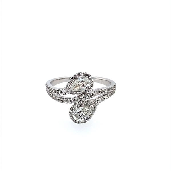 14K White Gold Two Pear Cut Diamond Ring Image 2 Franzetti Jewelers Austin, TX
