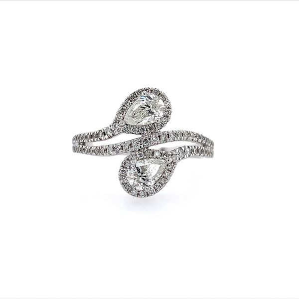 14K White Gold Two Pear Cut Diamond Ring Franzetti Jewelers Austin, TX
