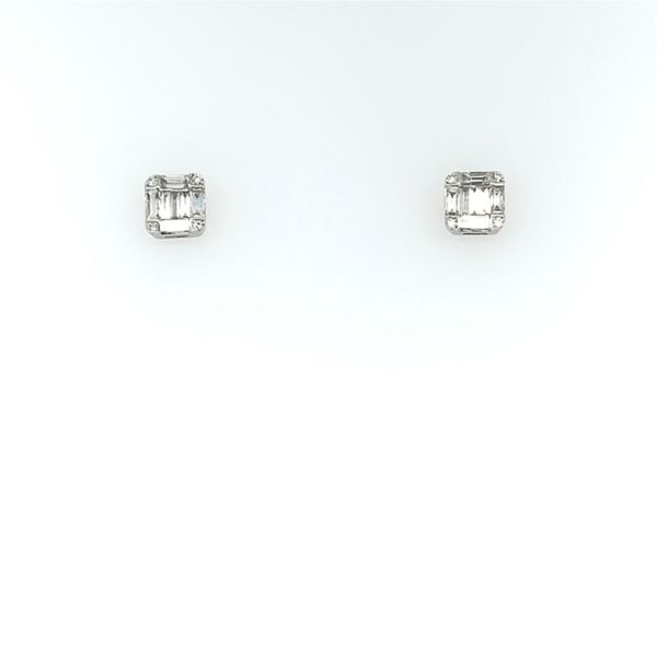 14K White Gold Emerald Shape Diamond Cluster Stud Earring Image 3  ,