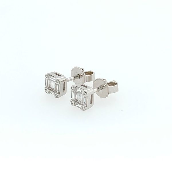 14K White Gold Emerald Shape Diamond Cluster Stud Earring Image 4  ,