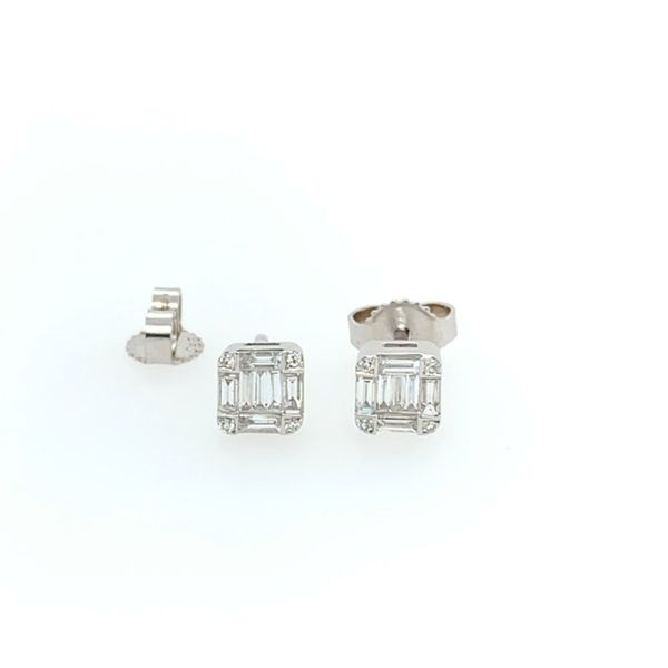 14K White Gold Emerald Shape Diamond Cluster Stud Earring Image 5 Franzetti Jewelers Austin, TX