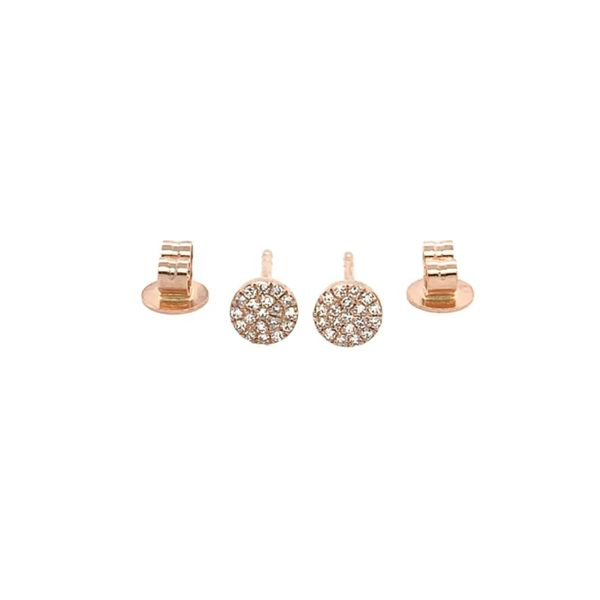 Diamond Disc Stud Earrings Image 2  ,