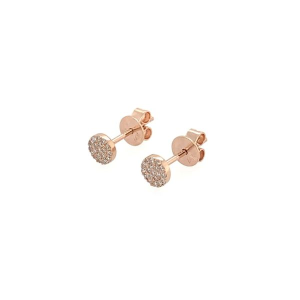Diamond Disc Stud Earrings Image 3  ,