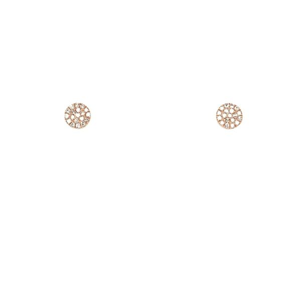 Diamond Disc Stud Earrings Image 4  ,