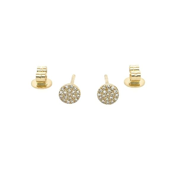 Diamond Disc Stud Earrings Image 2 Franzetti Jewelers Austin, TX
