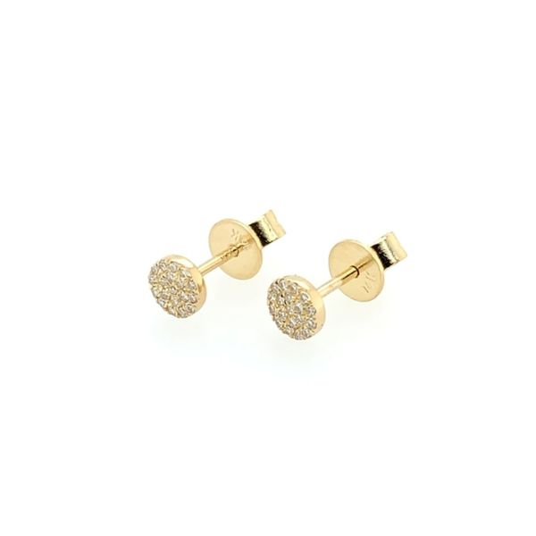 Diamond Disc Stud Earrings Image 3 Franzetti Jewelers Austin, TX