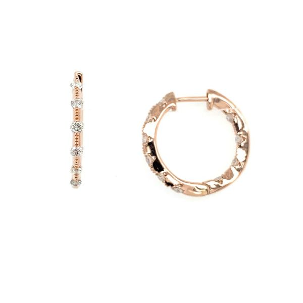 14K Rose Gold 1/2 CTW Diamond Hoop Earrings Image 2 Franzetti Jewelers Austin, TX