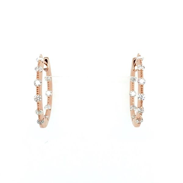 14K Rose Gold 1/2 CTW Diamond Hoop Earrings Franzetti Jewelers Austin, TX