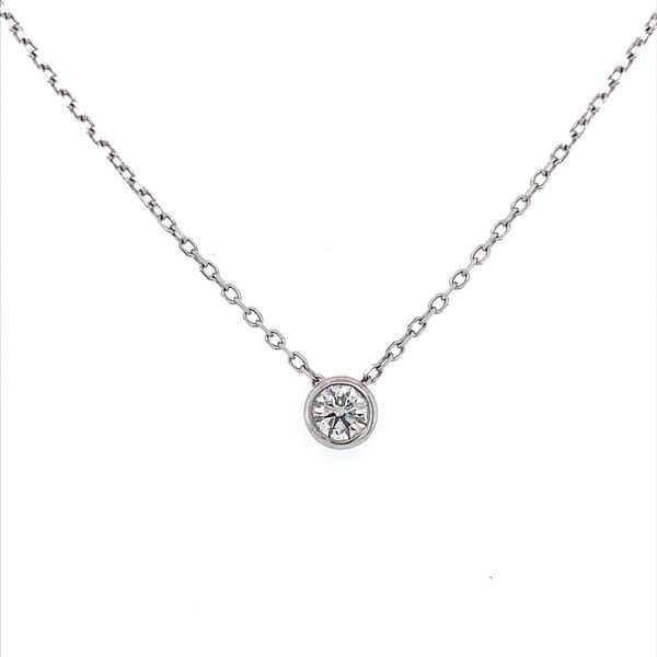 14K White Gold Necklace with 0.32 Carat Diamond Slide Pendant Franzetti Jewelers Austin, TX
