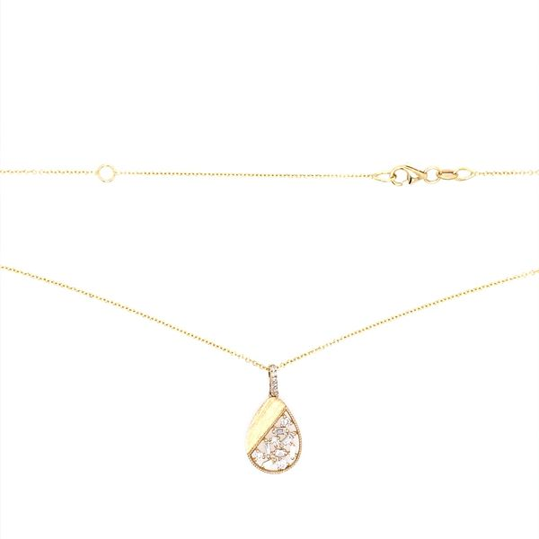 14KY Gold Diamond Pear Shape Pendant on 18