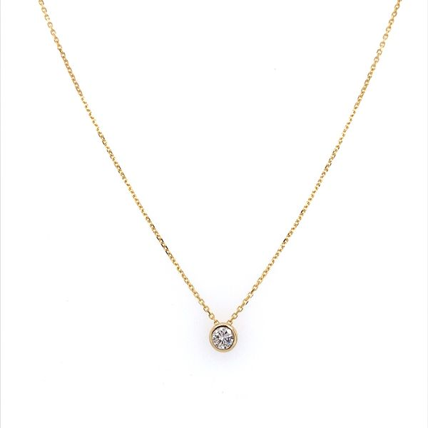 14K Yellow Gold Necklace with 0.33 Carat Diamond Slide Pendant Image 3 Franzetti Jewelers Austin, TX