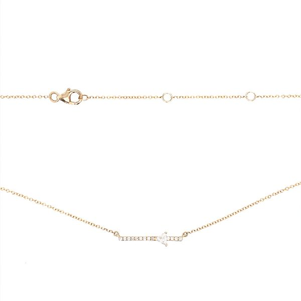 14KY Gold Diamond Triangle Bar Necklace Image 3 Franzetti Jewelers Austin, TX