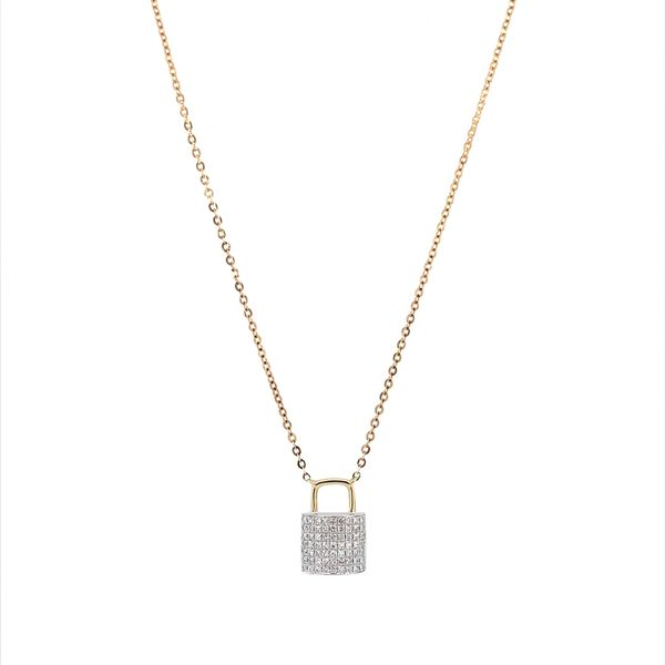 14K W&Y Gold Diamond Padlock Pendant Necklace Image 2 Franzetti Jewelers Austin, TX