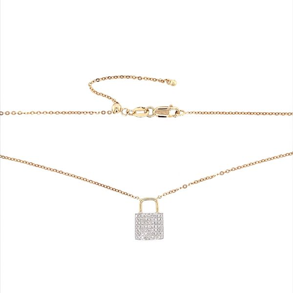 14K W&Y Gold Diamond Padlock Pendant Necklace Image 3 Franzetti Jewelers Austin, TX