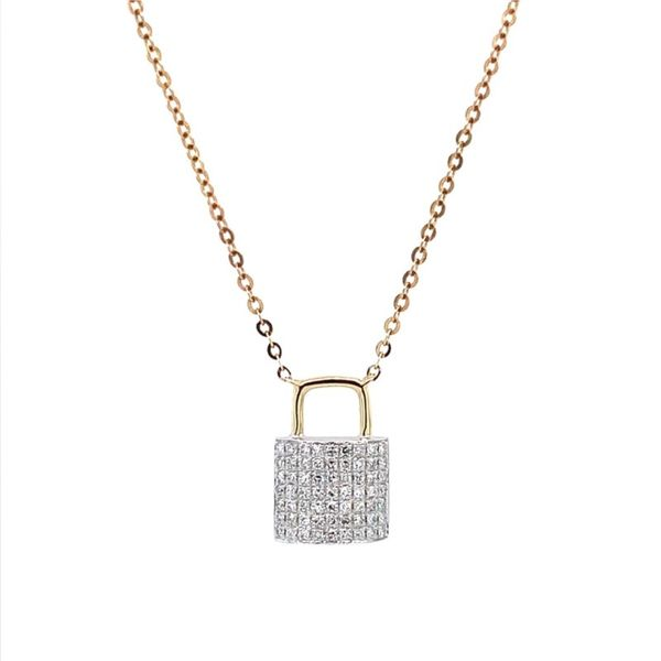 14K W&Y Gold Diamond Padlock Pendant Necklace Franzetti Jewelers Austin, TX