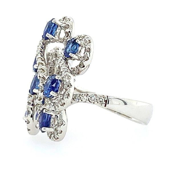 18K White Gold Oval Sapphires & Diamond Ring Image 2 Franzetti Jewelers Austin, TX