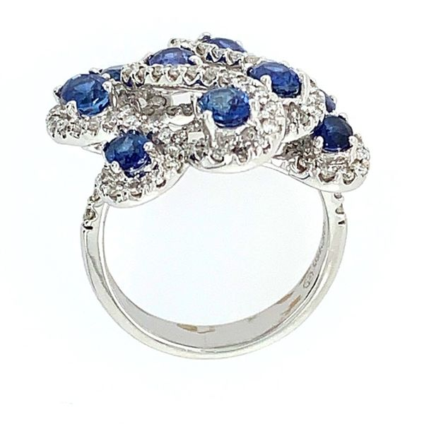 18K White Gold Oval Sapphires & Diamond Ring Image 3 Franzetti Jewelers Austin, TX