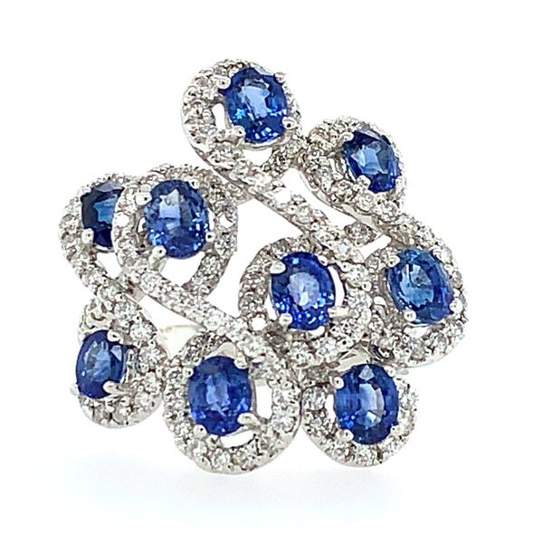 18K White Gold Oval Sapphires & Diamond Ring Franzetti Jewelers Austin, TX