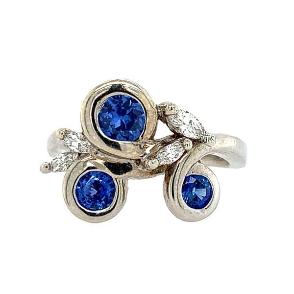 14K White Gold 3 Sapphire & Diamond Floral Ring Franzetti Jewelers Austin, TX