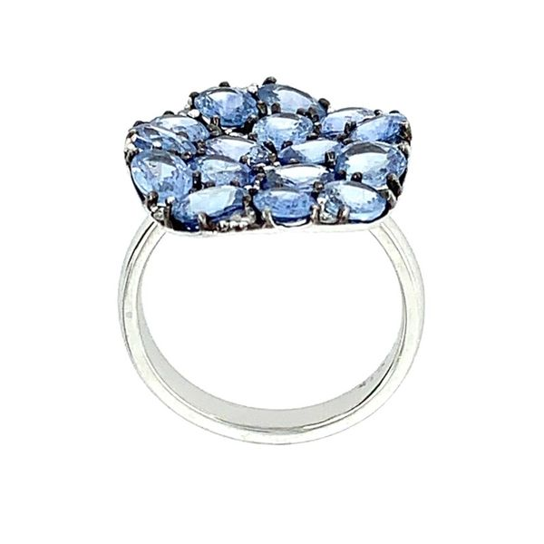 18K White Gold Oval Blue Sapphires & Diamond Ring Image 4 Franzetti Jewelers Austin, TX