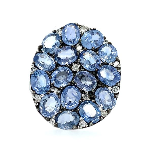 18K White Gold Oval Blue Sapphires & Diamond Ring Franzetti Jewelers Austin, TX