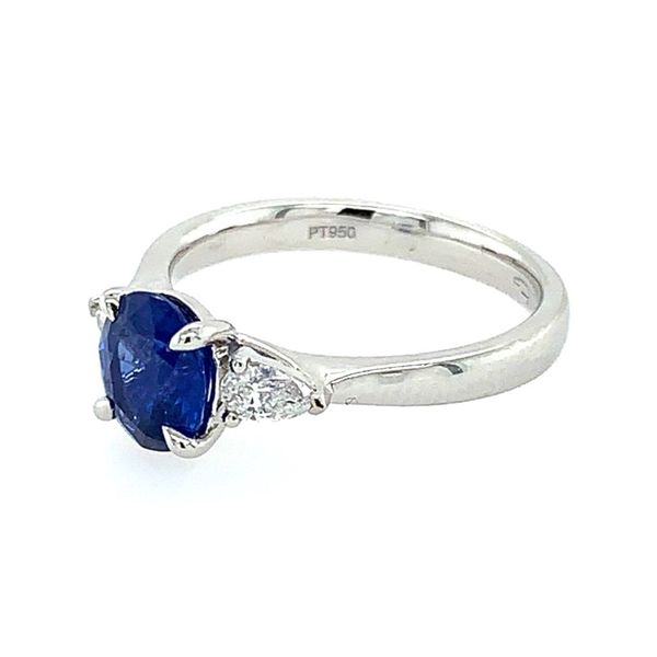 Platinum 3 Stone Ring with Oval Sapphire & Pear Cut Diamonds Image 2 Franzetti Jewelers Austin, TX
