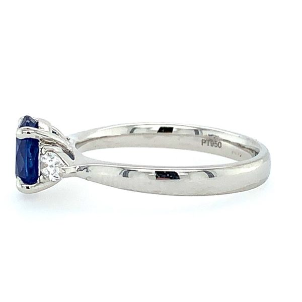 Platinum 3 Stone Ring with Oval Sapphire & Pear Cut Diamonds Image 3 Franzetti Jewelers Austin, TX