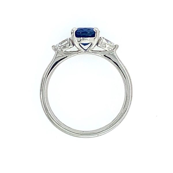 Platinum 3 Stone Ring with Oval Sapphire & Pear Cut Diamonds Image 4 Franzetti Jewelers Austin, TX
