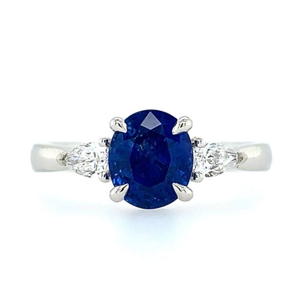 Platinum 3 Stone Ring with Oval Sapphire & Pear Cut Diamonds Franzetti Jewelers Austin, TX