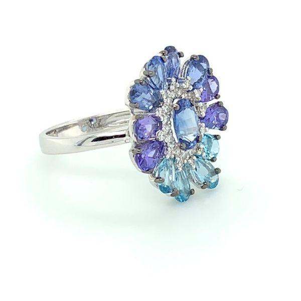 Blue Sapphire, Tanzanite, Blue Topaz & Diamond Flower Ring Image 2 Franzetti Jewelers Austin, TX