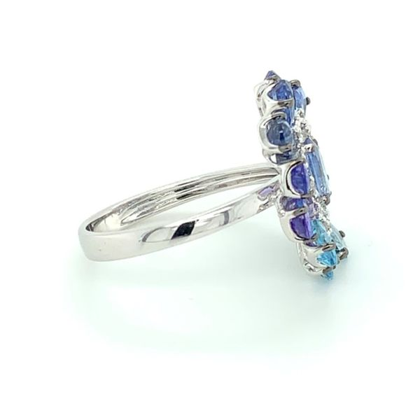 Blue Sapphire, Tanzanite, Blue Topaz & Diamond Flower Ring Image 3 Franzetti Jewelers Austin, TX