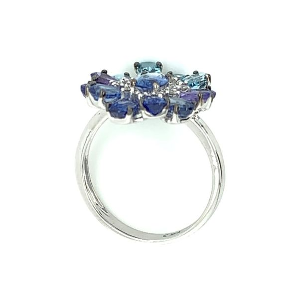 Blue Sapphire, Tanzanite, Blue Topaz & Diamond Flower Ring Image 4 Franzetti Jewelers Austin, TX