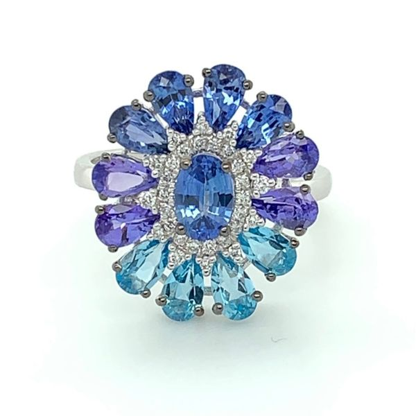 Blue Sapphire, Tanzanite, Blue Topaz & Diamond Flower Ring Franzetti Jewelers Austin, TX